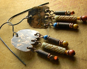 Southwestern Primitive Hammered Copper Chandelier Earrings Rustic Pale Blue Orange Dark Red