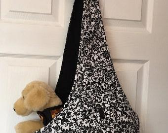 Comfort Dog Carrier, Dog Sling, Reversible black n white print combo