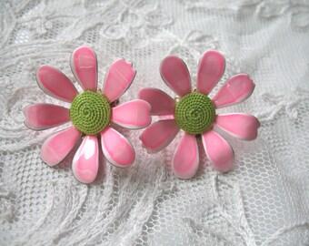 Vintage Enamel Flower Earrings ~ Pink & Green ~ Clip On