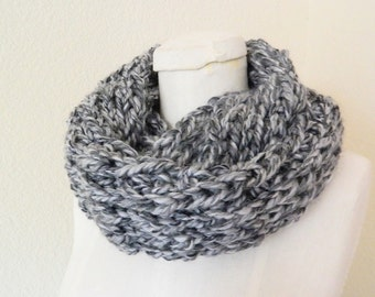 Black and Shades of Grey Chunky Mini- Infinity Scarf - Handknit, Ready to Ship