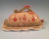 Butter dish/lidded butter dish/orange pottery/serving dish/red flowered/flowered pottery