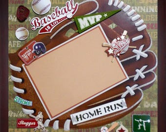 BASEBALL IS LIFE Premade Memory Album Page (Gallery Wood Frame Sold Separately)