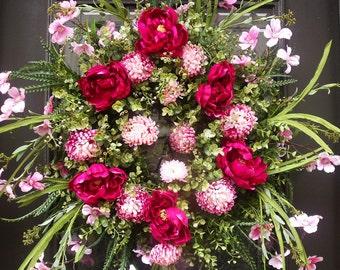 Spring Wreath, Dogwood Wreath, Valentines Day Wreath, Spring Door Wreath, Pink Peony Wreath,  Floral Door Wreath, Etsy Wreaths