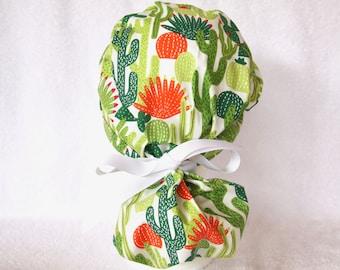 Surgical PonyTail Scrub Hat for Women - Pony Tail Scrub Cap, Operating Hat, Cactus, Desert, Green, Orange, and White