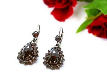 Medium sized Drippy Vintage garnet earrings in Victorian style || ГРАНАТ 7TFJEPK