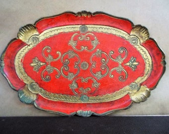 Vintage Brilliant Red and Gold Italian Florentine Vanity Tray