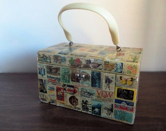 Vintage Annie Laurie Originals Decoupage Redo with Postage Stamps Box Bag