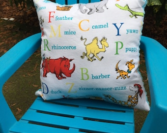 "Child's Pillow - Dr. Seuss Tossed Characters on Cotton with Bright Blue Dimple Minky Back, 14"" X 14"""