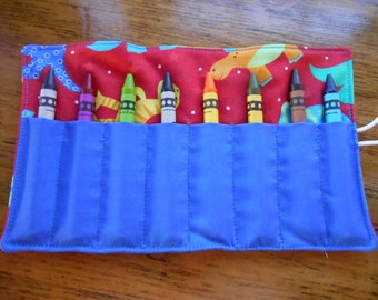 Red Dionsaur crayon roll up 8 count