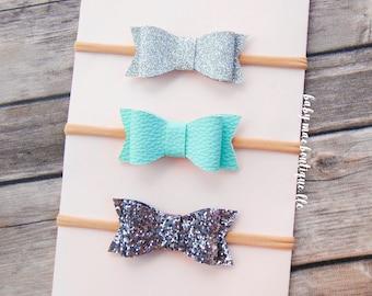 Baby Faux Leather Glitter Bow Headbands; Baby Girl Silver Mint and Charcoal bow headband; 3 headband set; stetchy nylon headband; glitter