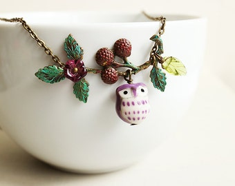 Purple Owl and Berry Branch Necklace. owl necklace. hooter necklace. woodland forest owl necklace. owl and leaf charm. tree and owl