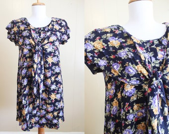 Floral Dress Vintage 90s Grunge Babydoll Crinkle Loose Medium Large