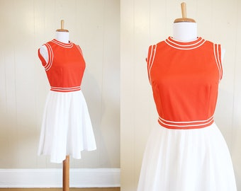 Mini Dress Vintage 1960s Orange White Sleeveless Vicky Vaughn Mod XS Small