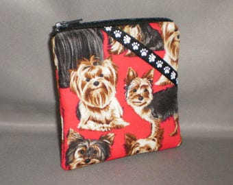 Coin Purse - Gift Card Holder - Card Case -Small Padded Zippered Pouch - Mini Wallet - Dogs - Yorkie - Yorkshire Terrier