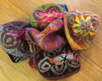 Crazy Hats:  Hand knit wool tams