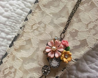 Timeless  .vintage flower collage  necklace