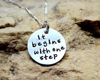 It begins with one step - sterling silver charm