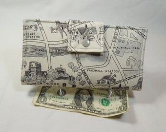 London Map Wallet, Off White Bifold Clutch, Womans Fabric Wallet, Map Wallet, Made in USA