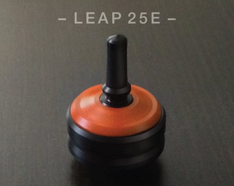 "LEAP 25E Orange – Precision spin top with ceramic tip and rubber grip foor improved control – 1"" desk and pocket top"