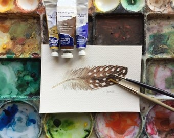 Brown Guinea Hen Feather - Original watercolour painting