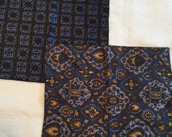 Pair of MOD Blue Print Vintage Acetate Pocket Squares
