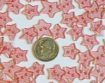 30 Buttons, Prim Stars, Coral Pink Clear Translucent Star Buttons, Two Hole Sew Through (G 34)