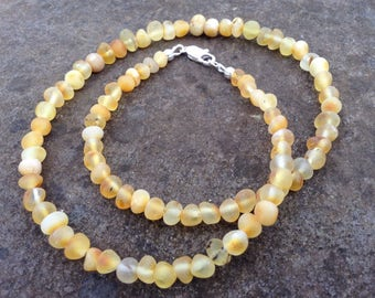 Raw shined Baltic Amber necklace - Anti-inflammatory & pain relieving properties - grounding - 18 inches long