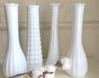milk glass vases wedding vases instant collection of four heirloom vases farmhouse decor