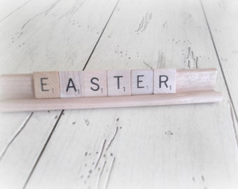 Easter Scrabble Letters And Wooden Rack Easter Sign Spring Decor Easter Decoration