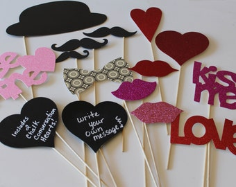 Valentine's Day Photo Booth Prop Set - 16 piece DIY prop set