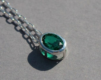 May birthstone pendant, emerald necklace