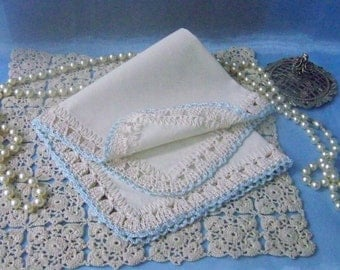Bridal Something Blue, Handkerchief, Hanky, Hankie, Hand Crochet, Personalized, Monogrammed, Embroidered, Wedding, Lace, Ready to ship