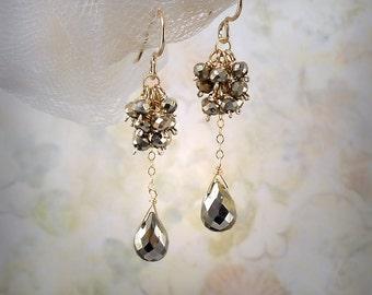 Pyrite Dangle Earrings Pyrite Teardrop Earrings Pyrite Earrings Minimalist Earrings Silver Gray Gemstone Earrings 14K Gold Fill Delicate