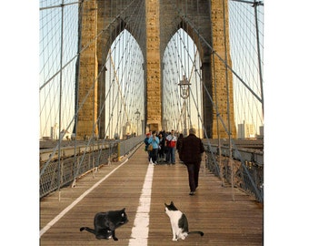 Cat Art Print, Brooklyn Bridge, Cat Lover Gift, Housewarming Gift, Funny Art Print, Cat Artwork, Deborah Julian