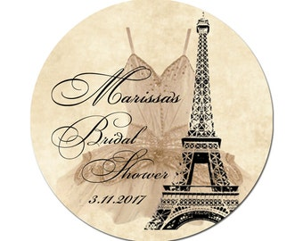 Personalized Bridal Shower Labels Eiffel Tower and Corset on Grunge Sepia Background Round Glossy Designer Stickers