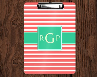 Stripes with Optional Band Personalized Monogrammed 2-Sided Dry Erase Clipboard - Great Teacher, Coach, Office Gift!