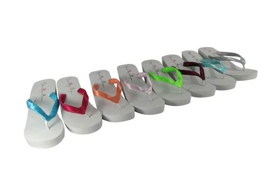 Classic Wedding Wedge Flip Flops - Choose your Colors & Heel Height- Bridesmaid Flip Flops/ Bride Bridal Sandals Shoes, Platform Plain Heel