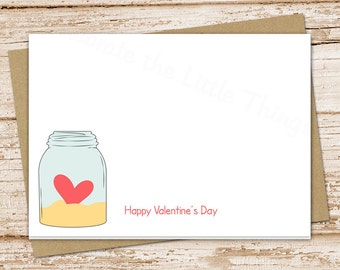 happy valentine's day cards . folded greeting cards . heart, mason jar cards . stationery . set of 6