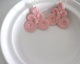 Moroccan arabesque earrings, handmade, pale pink art silk