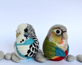 Reserved for Kat - two birds, needle felted wool ornaments