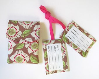 Handmade Passport cover and two matching luggage tags - Flowers in cocoa - Ready to ship - Travel gift ideas for her - birthday gift
