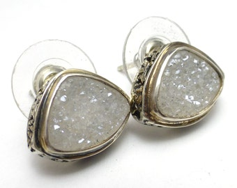 White Druzy Crystal Earrings Sterling Silver Handmade by Lisajoy Sachs One of a Kind Design Bezel set Post Earring