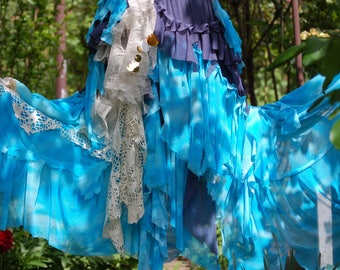 Skirt , Long skirt, mermaid skirt, faerie punk, tatter punk, blue skirt, shades of sky, layers and frills, shabby chic, gypsy love, romance