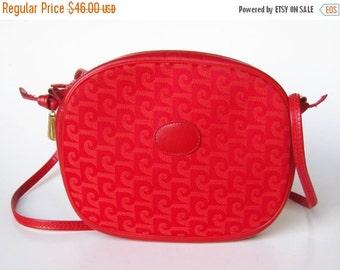 HOLIDAY SALE Vintage 80s Red Leather & Canvas Pierre Cardin Signature Logo Print Purse Handbag