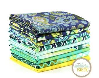 "Eden - Sapphire - Fat Quarter  Bundle - 9 - 18""x21"" Cuts - Tula Pink - Free Spirit Quilt Fabric"