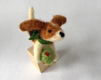 Mini Needle Felted Beagle Dog on a Cube