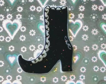 Witch boot pin, Halloween Queen, scream queen, spooky, pumpkin, ghost, witchy, witch, Brooch, soft grunge, tumblr,90s