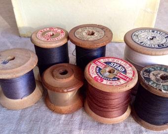 Vintage Wooden Bobbins, Cotton Reels Sewing Threads 7 pc Black White Grey & Brown Vintage Haberdashery