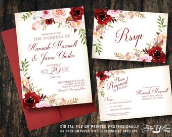 Red Blush Floral Wedding Invitation SET | Pink Flowers Vintage Marsala  | Printed Invite Printable Digital File DIY | Country Rustic Boho