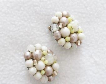 40% OFF SALE Vintage 1960's Clip On Earrings / Creamy-Yellow Beaded Costume Jewelry Earring Set